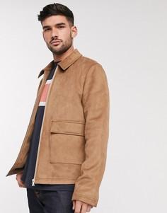 Светло-коричневая куртка Харрингтон из искусственной кожи с накладными карманами ASOS DESIGN-Светло-коричневый