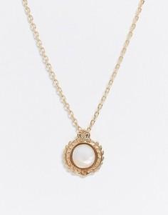 Золотистое ожерелье-цепочка с искусственным жемчугом на подвескеChained & Able-Золотой