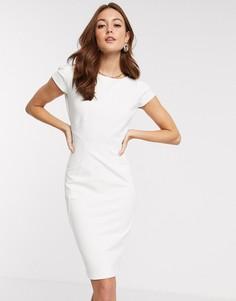 Трикотажное платье-футляр кремового цвета Closet-Кремовый
