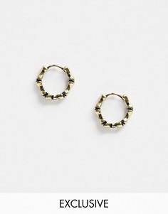Золотистые серьги-кольца Reclaimed Vintage inspired-Золотой