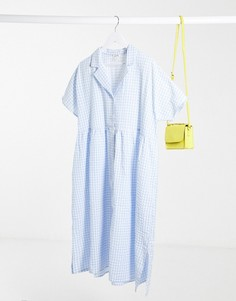 Свободное платье в голубую клеточку Monki-Синий