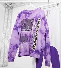 Фиолетовый свитшот с принтом тай-дай Reclaimed Vintage inspired-Светло-бежевый