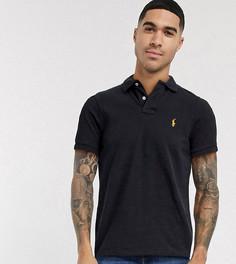 Эксклюзивное черное поло зауженного кроя с золотистым логотипом Polo Ralph Lauren x ASOS-Черный