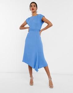 Синее платье миди с рукавами-кимоно и асимметричным краем Closet London-Синий