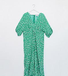 Зеленое чайное платье миди с цветочным принтом и завязкой ASOS DESIGN Curve-Мульти
