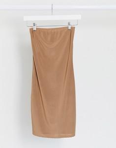 Платье-бандо мини верблюжьего цвета Fashionkilla-Бежевый