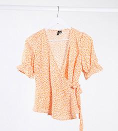 Оранжевая блузка с запахом и цветочным принтом Vero Moda Petite-Мульти