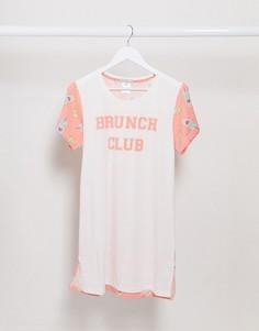 """Ночная рубашка с надписью """"brunch club"""" Loungeable-Белый"""