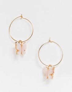 Золотистые серьги-кольца с розовыми бабочками ASOS DESIGN-Золотой