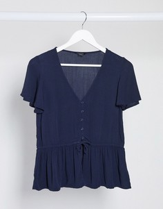 Темно-синяяприталенная блузка Monki-Темно-синий