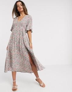 Чайное платье миди с цветочным принтом и разрезом Y.A.S-Мульти