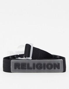 Черный ремень с прозрачной пряжкой и резиновым логотипом Religion