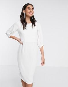 Платье-футляр цвета слоновой кости со складками на рукавах Closet London-Белый