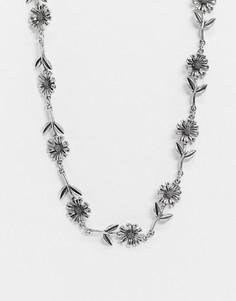 Ожерелье-цепочка с цветами ASOS DESIGN-Серебряный