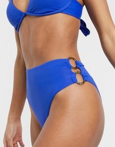Кобальтово-синие плавки бикини с высоким вырезом по бедру Seafolly-Синий