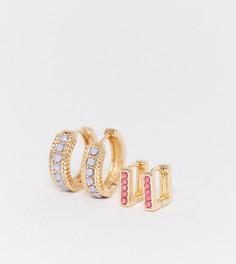 Набор золотистых серег с цветными камнями Reclaimed Vintage inspired-Золотой