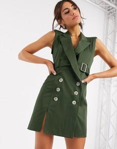 Платье-смокинг мини с ремнем и декоративной строчкой ASOS DESIGN-Зеленый