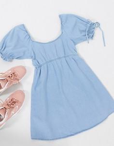 Голубое джинсовое платье мини Miss Selfridge-Синий