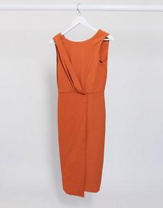 Платье-футляр со складками Closet London-Оранжевый