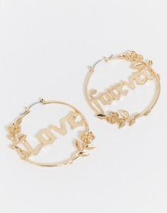 Золотистые серьги-кольца с отделкой в виде роз ASOS DESIGN-Золотой