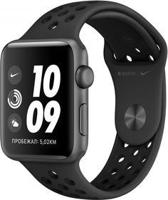 Умные часы Apple Watch Nike+ Series 3, 42 мм, корпус из алюминия цвета «серый космос», спортивный ремешок Nike цвета антрацитовый/черный (MTF42RU/A)