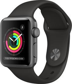 Умные часы Apple Watch Series 3, 38 мм, корпус из алюминия цвета «серый космос», спортивный ремешок черного цвета (MTF02RU/A)