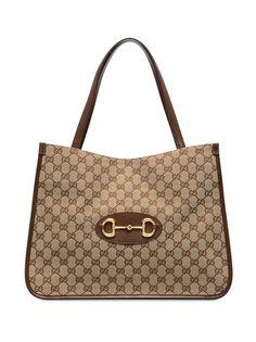 Gucci сумка тоут с узором GG Supreme и пряжкой Horsebit