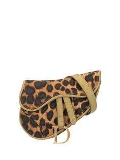 Christian Dior полукруглая поясная сумка с леопардовым принтом