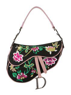 Christian Dior сумка на плечо 2000-х годов с цветочной вышивкой