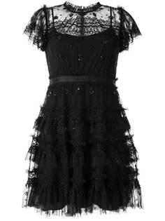 Needle & Thread платье с поясом и оборками