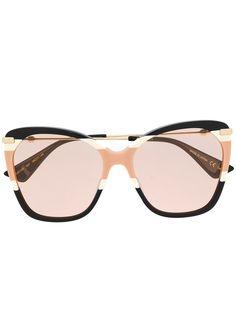 Gucci Eyewear солнцезащитные очки в массивной оправе бабочка