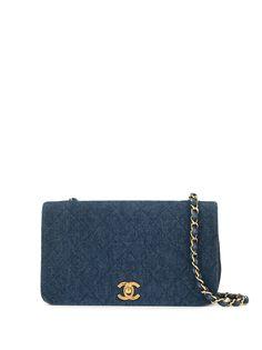 Chanel Pre-Owned джинсовая стеганая сумка 85-93-х годов