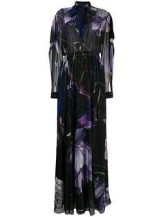 Roberto Cavalli длинное расклешенное платье с принтом Marchito