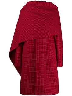 Balenciaga пальто в ломаную клетку с шарфом