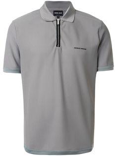 Giorgio Armani сетчатая рубашка поло с воротником на молнии