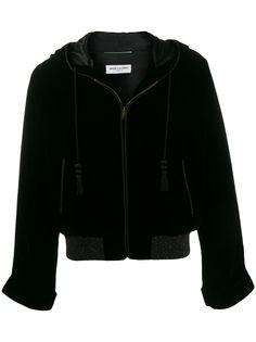 Saint Laurent бархатная куртка Djellaba с капюшоном