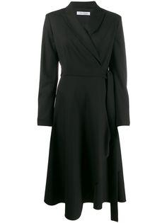 Max Mara асимметричное платье с запахом и длинными рукавами