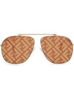 Fendi солнцезащитные очки-авиаторы с логотипом FF