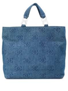 Chanel Pre-Owned джинсовая сумка-шопер 2000-х годов с логотипом CC