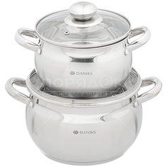Набор посуды из нержавеющей стали Daniks Классика SD-6-4 (кастрюли 2+4 л), 2 предмета