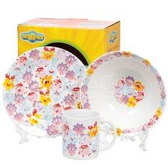 Набор детской посуды из керамики Смешарики - Бум SMS3-1, 3 предмета (кружка 240 мл, тарелка 190 мм, салатник 180 мм)
