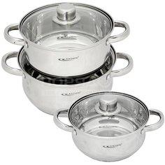 Набор посуды из нержавеющей стали Катунь Гретта KT-04В (кастрюли 2.2+3.2+4.2 л), 3 предмета