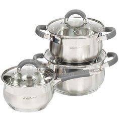 Набор посуды из нержавеющей стали Катунь Ирида КТ08-A (кастрюли 2.9+3.9 л, ковш 1.9 л), 3 предмета