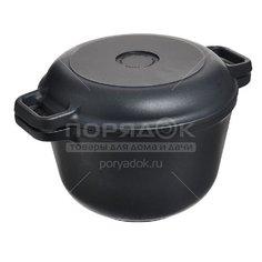Казан с антипригарным покрытием Нева Металл Посуда 6830 с крышкой-сковородой, 3 л