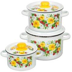 Набор эмалированной посуды СтальЭмаль Земляника 1с144 (кастрюля 1.5+2.9+4.5 л), 3 предмета