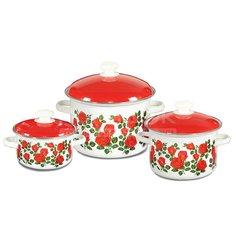 Набор эмалированной посуды СтальЭмаль Сиеста 1с408, (кастрюля 2+4+5.5 л), 3 предмета