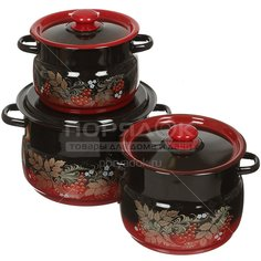 Набор эмалированной посуды Сибирские товары Рябинка 11 N11L05 (кастрюля 4+5.5+8 л), 3 предмета СтальЭмаль