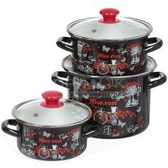 Набор эмалированной посуды Керченский металлургический завод Отдых-5-1-Люкс (кастрюля 1.9+2.5+5 л), 3 предмета