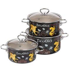 Набор эмалированной посуды Керченский металлургический завод Скифия-1-Элит (кастрюля 1.9+2.5+3.7 л), 3 предмета