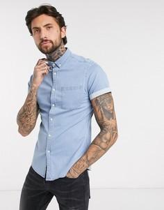 Светлая джинсовая рубашка узкого кроя ASOS DESIGN-Синий
